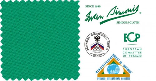 «Iwan Simonis 950 Rus Pro» - официальное сукно Чемпионата Мира по Пирамиде. Рекомендовано Федерацией Бильярдного Спорта России